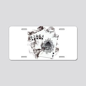 Smokin' Royal Flush Aluminum License Plate