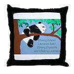 Panda Loves Libraries Throw Pillow