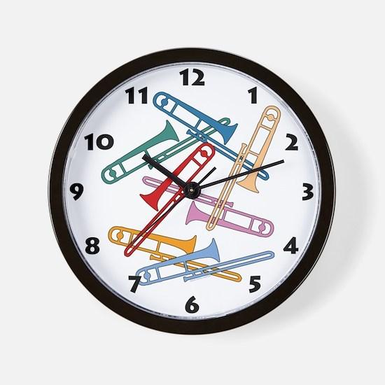 Colorful Trombones Wall Clock