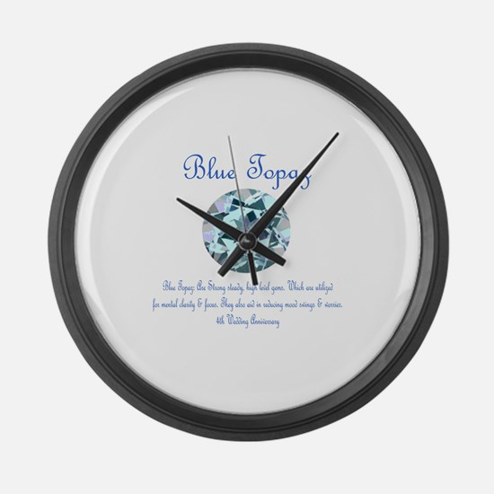 """""""Blue Topaz Meaning"""" Large Wall Clock"""