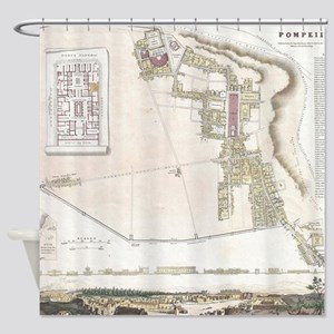 Vintage Map of Pompeii Italy (1832) Shower Curtain