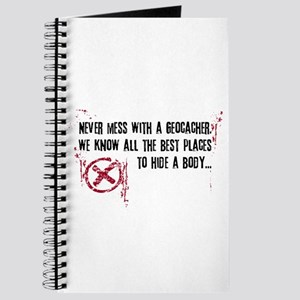 Geocaching - never mess dark red Journal