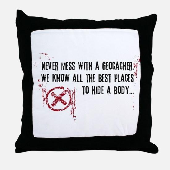 Geocaching - never mess dark red Throw Pillow