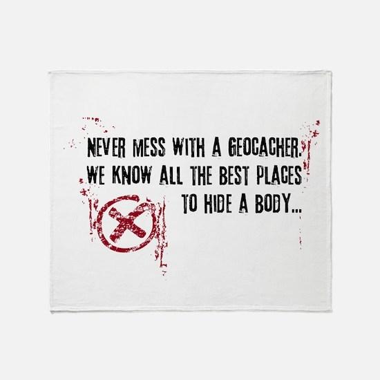 Geocaching - never mess dark red Throw Blanket