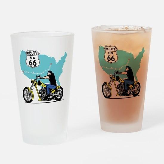 Route 66 Biker Drinking Glass