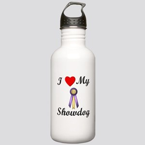 I Love My Showdog (ribbon) Stainless Water Bottle