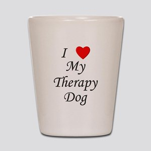 I Love My Therapy Dog Shot Glass