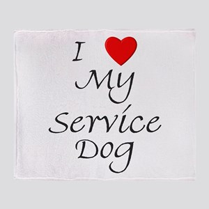 I Love My Service Dog Throw Blanket