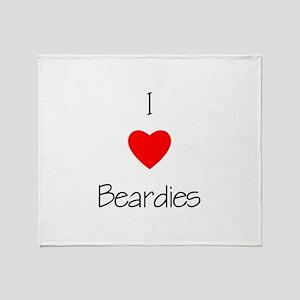 I Love Beardies Throw Blanket