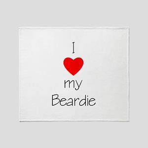 I Love My Beardie Throw Blanket