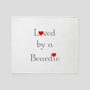 Loved by a Beardie Throw Blanket