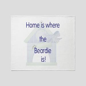 Home is where the Beardie is Throw Blanket