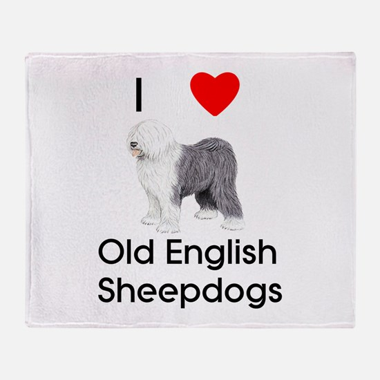 I Love Old English Sheepdogs Throw Blanket