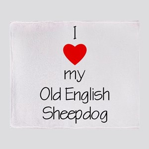 I Love My Old English Sheepdo Throw Blanket