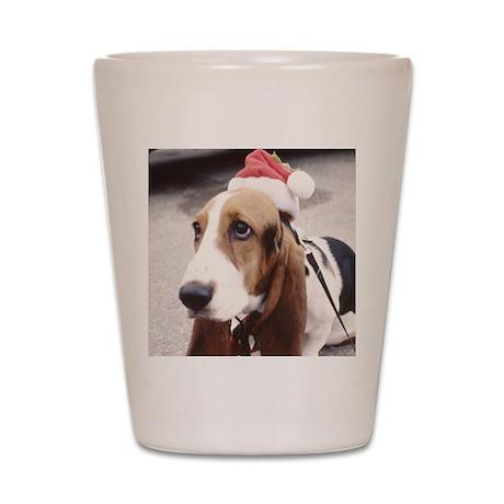 Basset Hound wearing Santa Ha Shot Glass