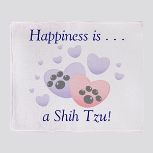 Happiness is...a Shih Tzu Throw Blanket