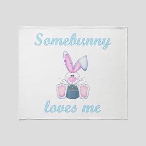 Somebunny Loves Me (boy) Throw Blanket