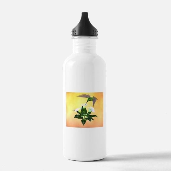 Hummingbird on Lily Water Bottle