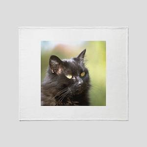 Black Cat Head Study Throw Blanket