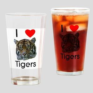 I Love Tigers Drinking Glass
