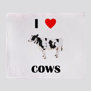I love cows Throw Blanket