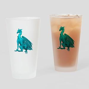 Teal Sitting Dragon Drinking Glass