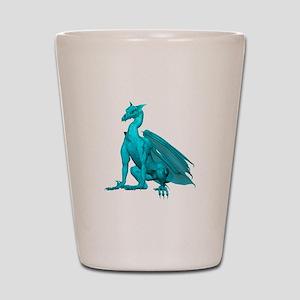 Teal Sitting Dragon Shot Glass