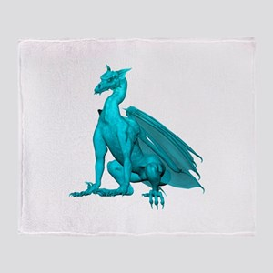 Teal Sitting Dragon Throw Blanket