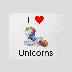 I love Unicorns (resting) Throw Blanket