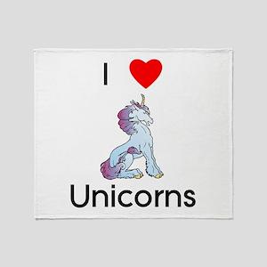 I love Unicorns (sitting) Throw Blanket