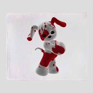 Red and White Puppy Throw Blanket