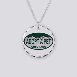 Adopt a Pet Colo License Plate Necklace Circle Cha
