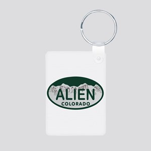 Alien Colo License Plate Aluminum Photo Keychain