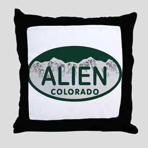 Alien Colo License Plate Throw Pillow