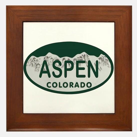 Aspen Colo License Plate Framed Tile