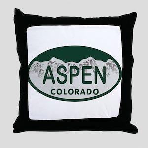 Aspen Colo License Plate Throw Pillow