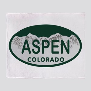 Aspen Colo License Plate Throw Blanket