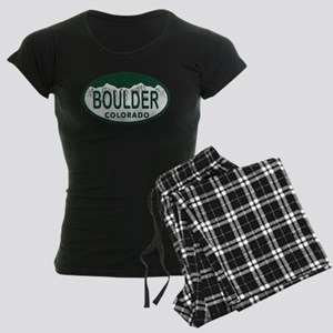 Boulder Colo License Plate Women's Dark Pajamas