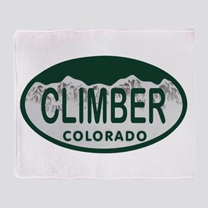 Climber Colo License Plate Throw Blanket