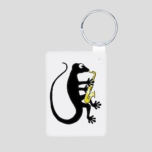 Gecko Saxophone Aluminum Photo Keychain