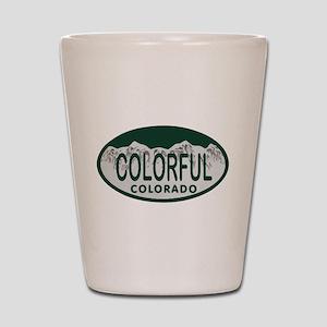 Colorful Colo License Plate Shot Glass