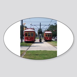 Red Streetcar Sticker (Oval)