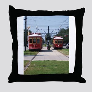 Red Streetcar Throw Pillow