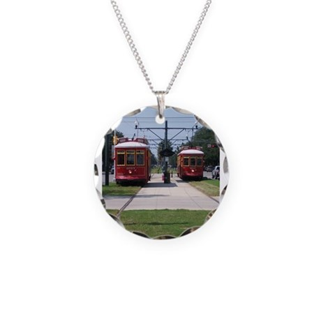 Red Streetcar Necklace Circle Charm