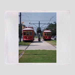 Red Streetcar Throw Blanket