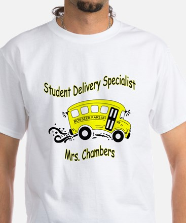 Mrs. Chamber's Bus Driver White T-Shirt