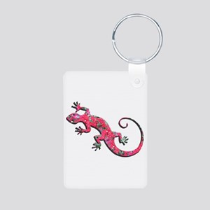Pink Rose Gecko Aluminum Photo Keychain