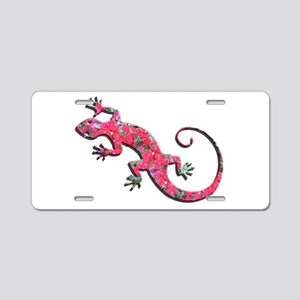 Pink Rose Gecko Aluminum License Plate