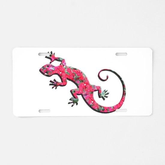 Pink Rose Gecko Aluminum License Plate