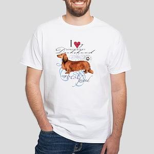 Longhaired Dachshund White T-Shirt